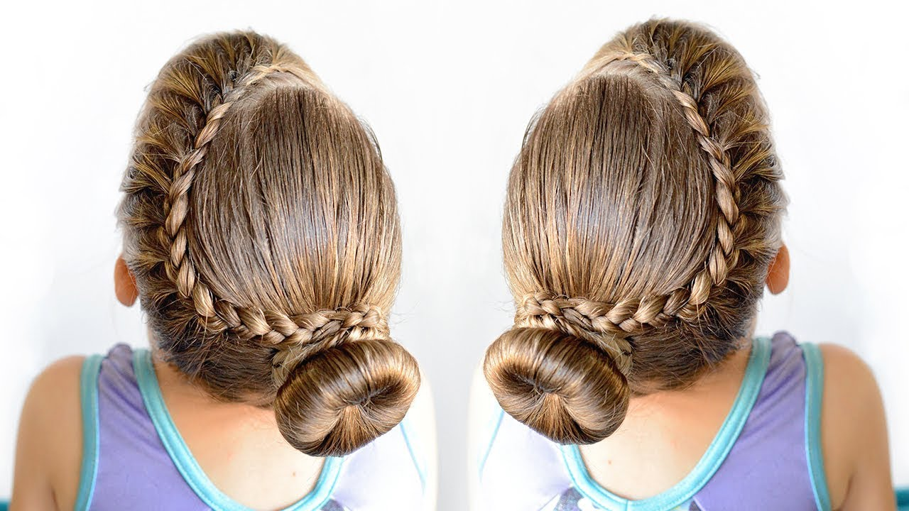 Lace Braid Bun Dance Hairstyle For Little Girls