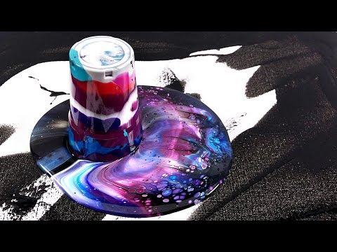 Acrylic galaxy pouring - Somewhere out there - Flip Cup Technique