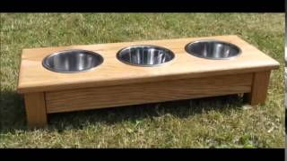 Solid Oak Shop Dog Bowl Feeders