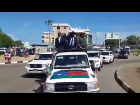 President Salva Kiira recorded being driven around Juba