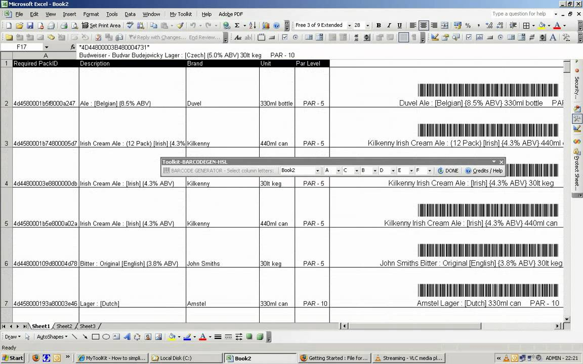 Free Barcode Generator from Excel - mytoolkit.0fees.net ...