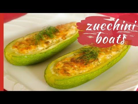 Chili-Cheese Stuffed Zucchini Motorboats