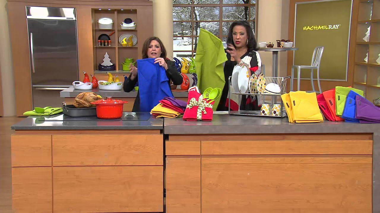 Rachael Ray Set Of 2 Solid Moppine Kitchen Towels With