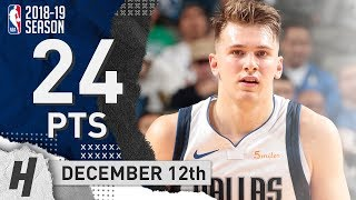 Luka Doncic Full Highlights Mavericks vs Hawks 2018.12.12 - 24 Pts, 6 Ast, 10 Rebounds!