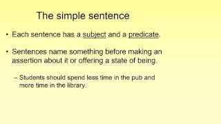 Grammar and Punctuation Lesson 1 - Clauses and Sentences