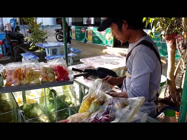 ???????????????????????????????????????????? Motorcycle selling fruit Monghpyak