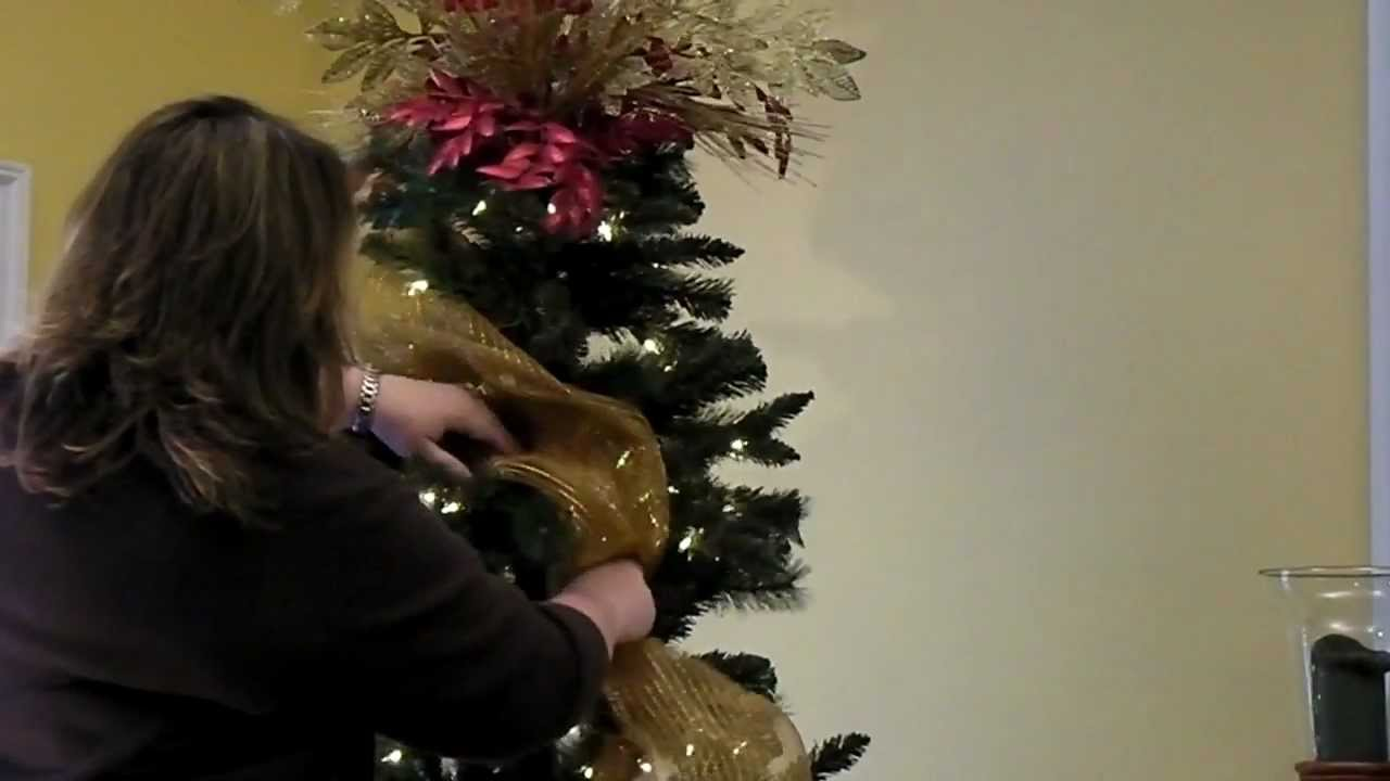 add deco mesh to christmas tree part 2 - How To Decorate A Christmas Tree With Deco Mesh