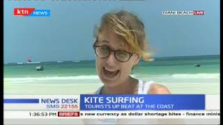 Local and Domestic tourist comes out at large to participate in kite surfing competition at Diani