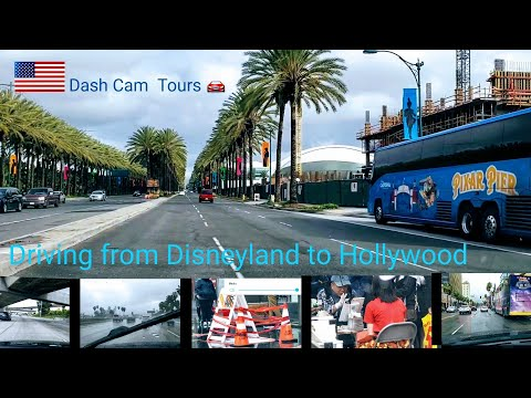 Dash Cam Tours 🚘  Driving from Disneyland  to Hollywood on Freeway on Cloudy Day