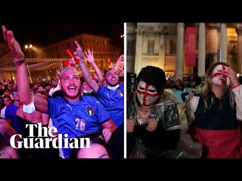 Euro 2020 final: Italy and England fans react to final penalty kick