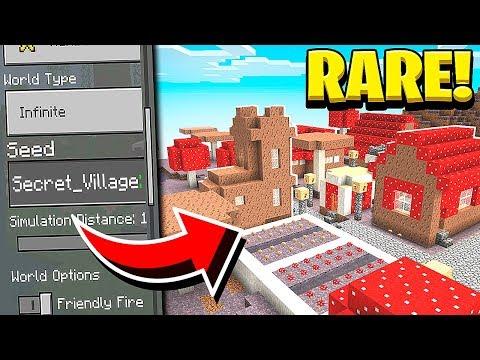 RARE MUSHROOM VILLAGE SEED In Minecraft! (Pocket Edition, PS4, Xbox, PC, Switch)