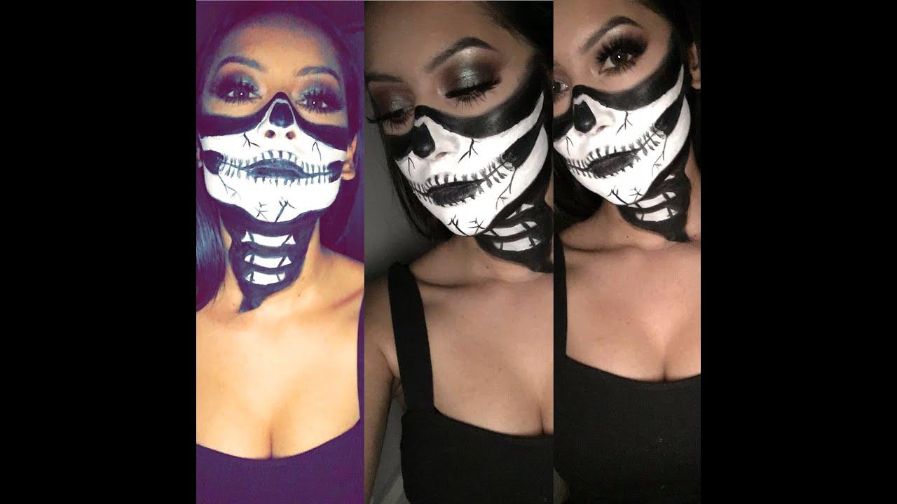 Uncategorized Halloween Face Paints half skull neck halloween face paint almaateresa youtube