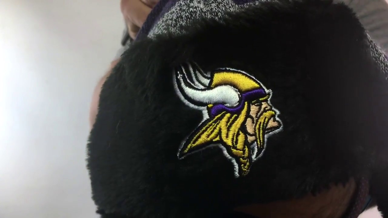 Vikings  FROSTWORK TRAPPER  Purple Knit Hat by New Era - YouTube ade77f56285