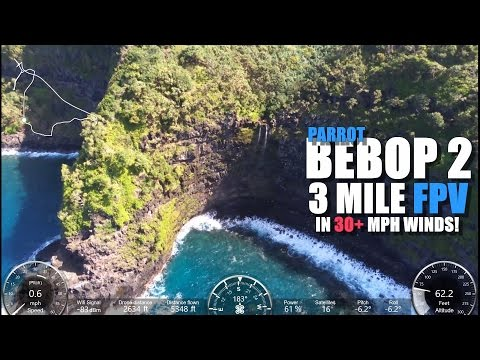 PARROT BEBOP 2 (SKYCONTROLLER EDITION) 3 Mile FPV 30+ MPH Winds [Maui Coastal Journey]