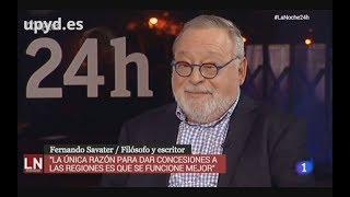 Fernando Savater (UPYD) Contra el separatismo en La Noche en 24 horas