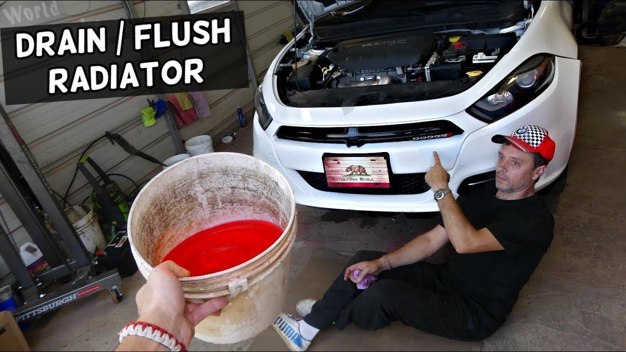 HOW TO DRAIN ENGINE COOLANT ON DODGE DART. FLUSH RADIATOR