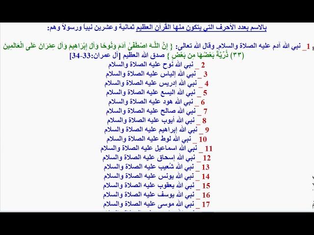 كم عدد الأنبياء والر سل الذي ورد ذكرهم في القرآن Youtube
