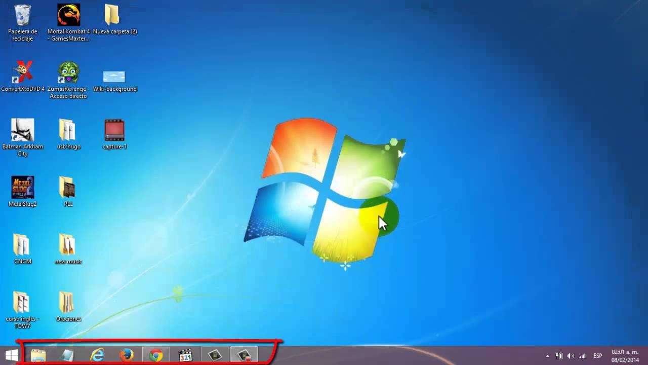 Partes Del Escritorio Windows 7 8