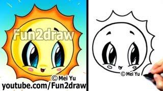 How to Draw Easy - Kawaii Tutorial - Cute Easy Cartoons - Sun