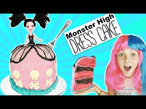 Monster High Draculaura Dress Cake Tutorial | Halloween Cake | Kids Cooking and Crafts