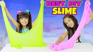 BEST FLUFFY SLIME EVER!- GIANT EASY STRETCHY DIY SLIME - Slime Challenge  Emily and Evelyn