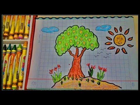 [tập vẽ] cách vẽ cây xoài và ông mặt trời (baby drawing mango tree and sun)