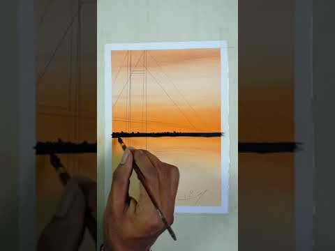 scenery painting 🎨 soft pastels colour drawing.