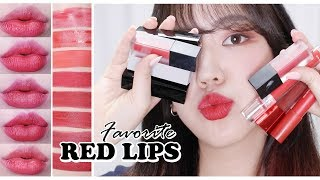 예쁜 레드 립스틱/틴트 추천???? 다양한 색감과 질감의 레드 모음! #제나립 My Favorite RED Lipsticks u0026 Lipstains