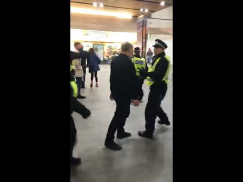 Birmingham fans fighting police at London Bridge