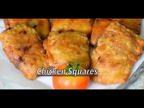Chicken Squares - Easy Evening Snack/Starter Recipe With Leftover Chicken