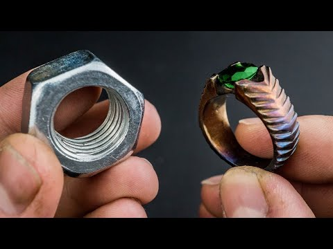 Turned a Hex Nut into BEAUTIFUL Ring - Using Only Hand Tools