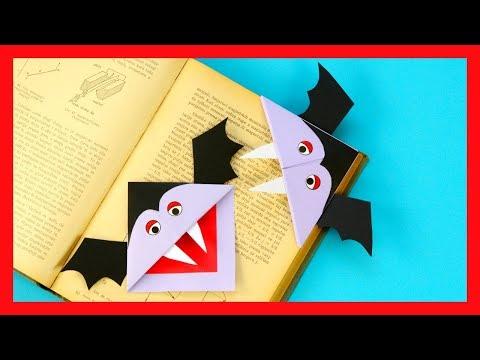 How to Make Vampire Corner Bookmark - fun Halloween origami for kids