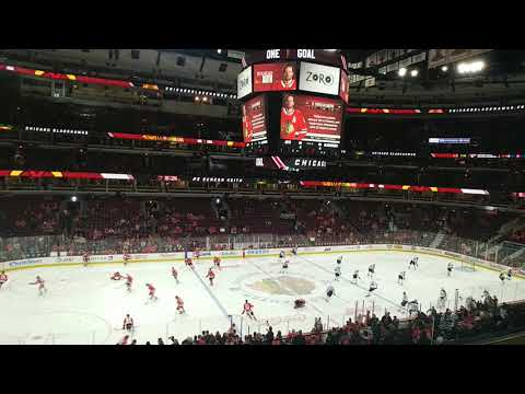 Chicago Blackhawks takeing the ice for warm ups