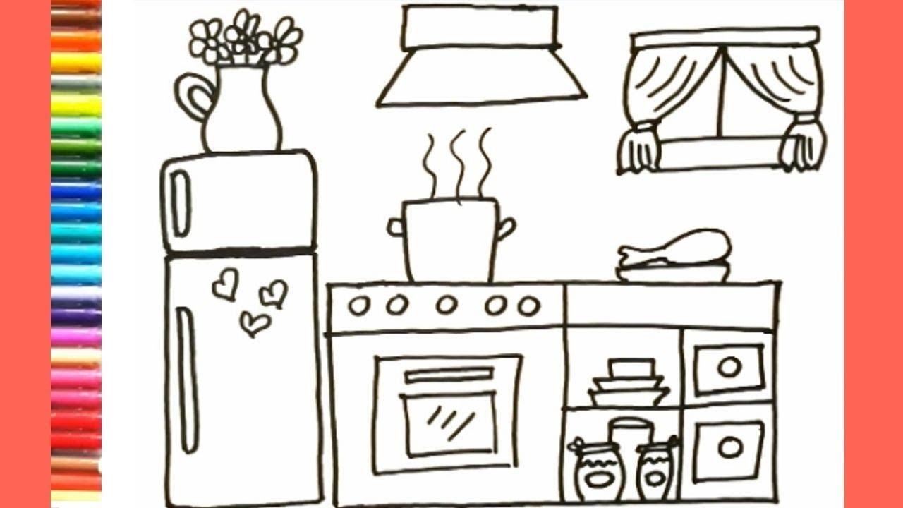 Como Dibujar Y Colorear Cocina Dibujos Para Ninos Youtube