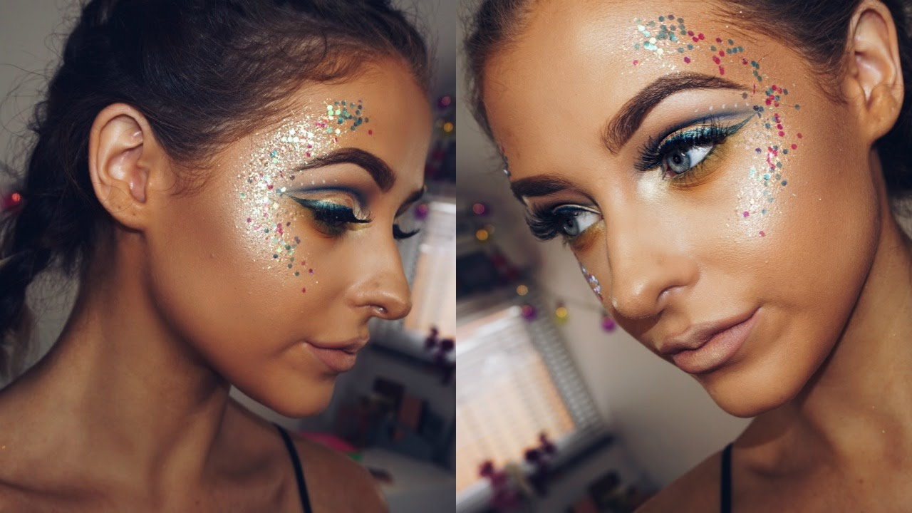 Glitter festival inspired makeup youtube for How to apply face paint