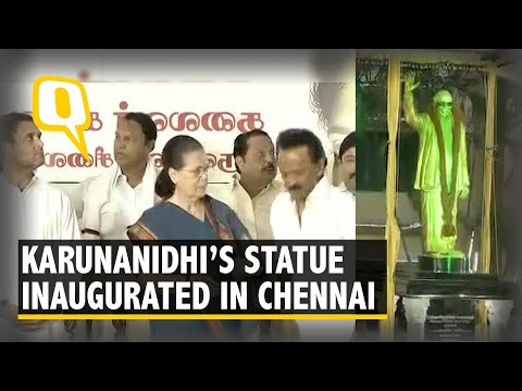 Opposition Leaders Attend Karunanidhi Statue Inauguration at DMK HQ