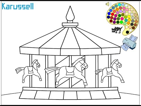 Carousel Coloring Pages For Kids - Carousel Coloring Pages - YouTube