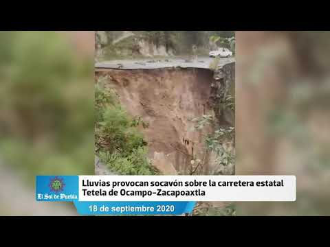 Lluvias provocan socavón en tramo Tetela-Zacapoaxtla