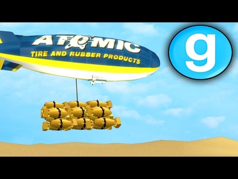 Gmod Sandbox - Dropping THE ATOM BOMB FROM A BLIMP!! Garry's Mod Funny Moments