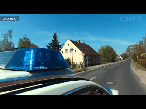 German Police code 3 run to a traffic accident w/ motorcycle | POV GoPro 3 + 4 + DJI Osmo X3