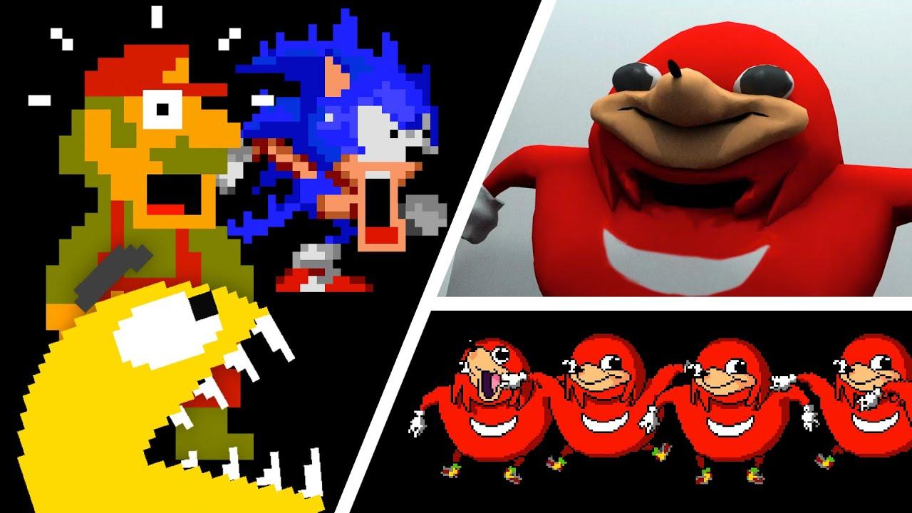Uganda Knuckles vs Pacman vs Mario and Sonic