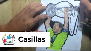 Dibujo de Iker Casillas levantando la décima Champions League del Real Madrid.
