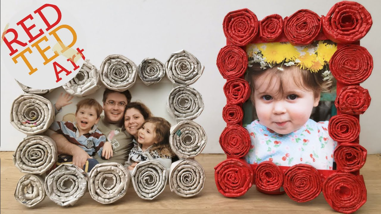 diy newspaper roll frames gift for fathers day or mothers day youtube
