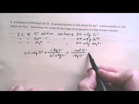 CHEM 1050 Lecture 111 Equivalents and Milliequivalents