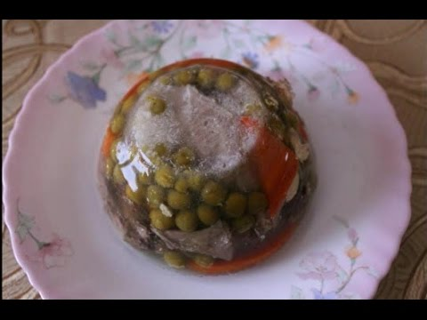 Homemade aspic with beef tongue