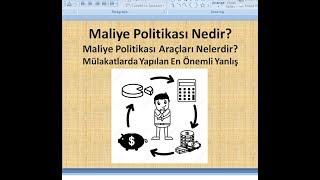 Maliye Politikası Nedir? Maliye Politikası Araçları Nelerdir? Basit Anlatım