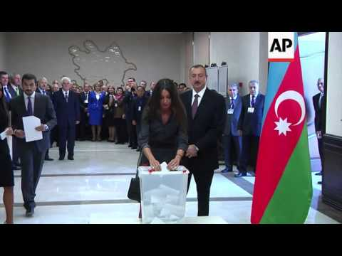 President Ilham Aliyev casts vote in presidential elections.