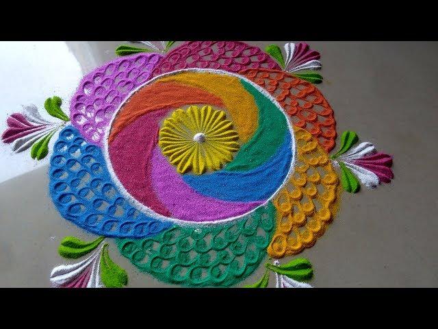 Multicolour beautiful attractive creative EASY rangoli design by bucketful creation