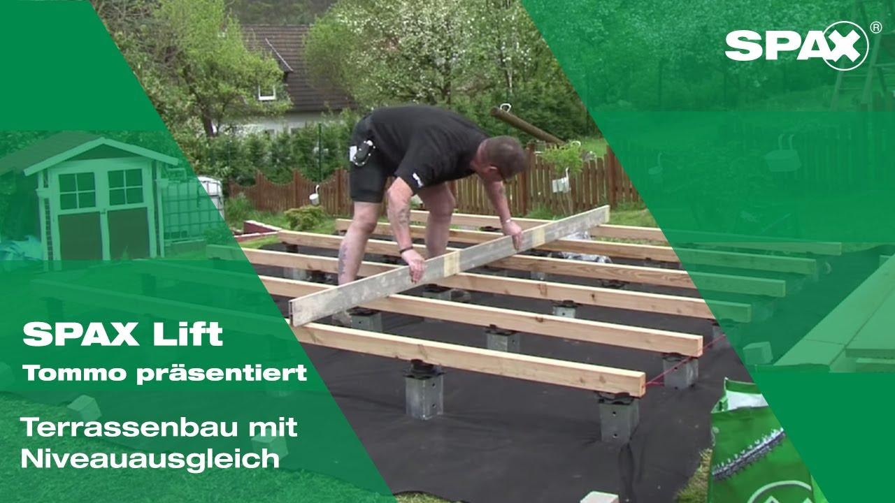 Tommo präsentiert Terrassenbau mit SPAX Lift Niveauausgleich