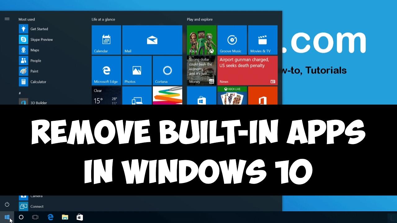 Remove built-in apps in Windows 10